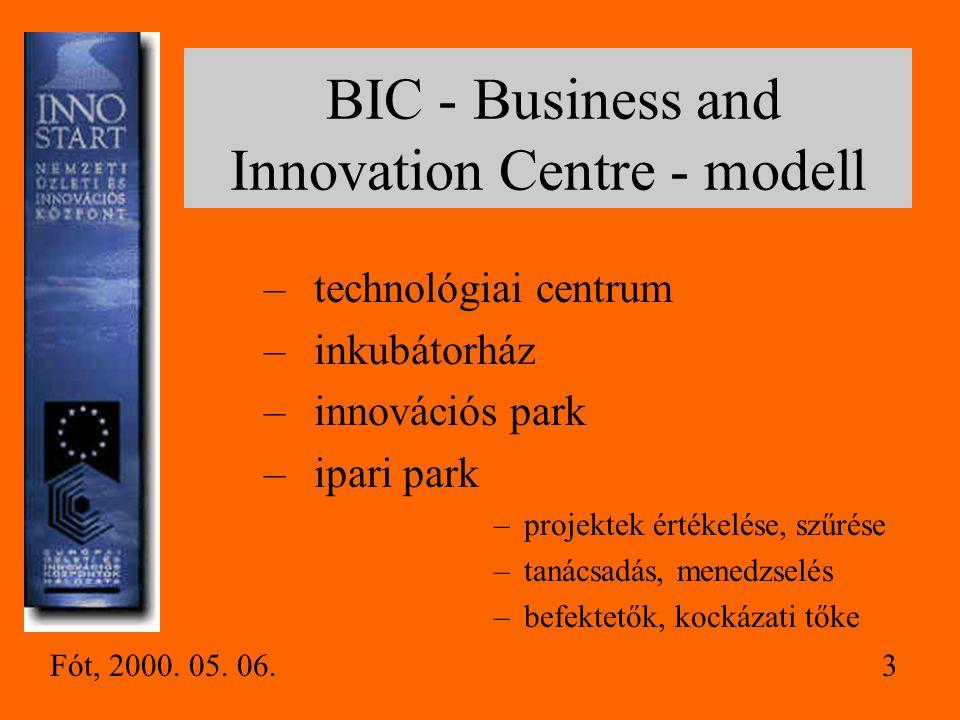 BIC - Business and Innovation Centre - modell –technológiai centrum –inkubátorház –innovációs park –ipari park –projektek értékelése, szűrése –tanácsadás, menedzselés –befektetők, kockázati tőke Fót, 2000.