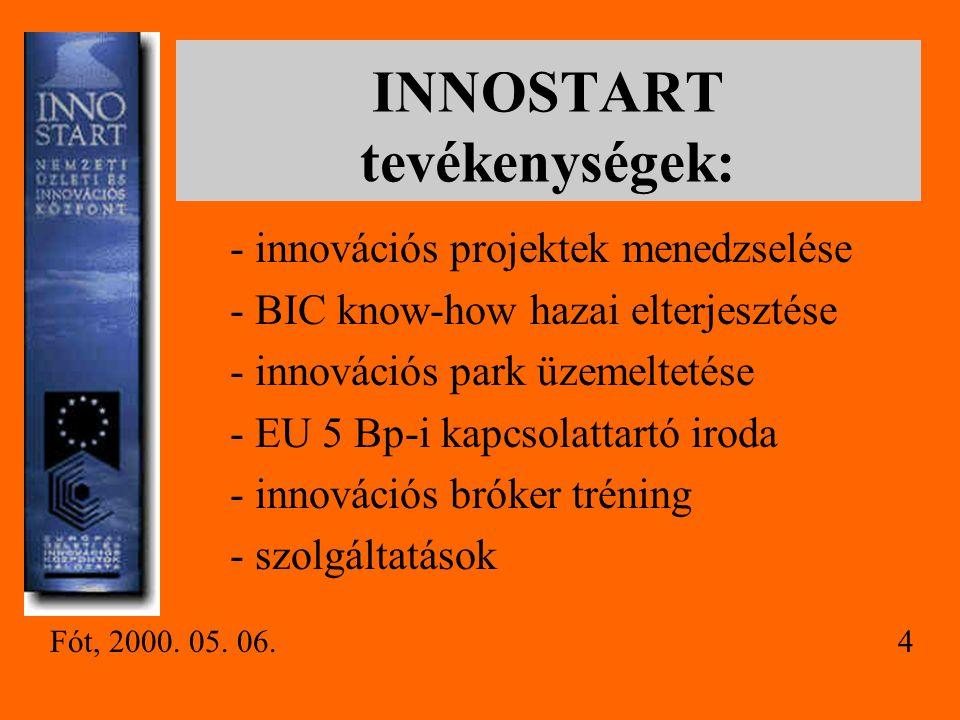 INNOSTART tevékenységek: - innovációs projektek menedzselése - BIC know-how hazai elterjesztése - innovációs park üzemeltetése - EU 5 Bp-i kapcsolattartó iroda - innovációs bróker tréning - szolgáltatások Fót, 2000.