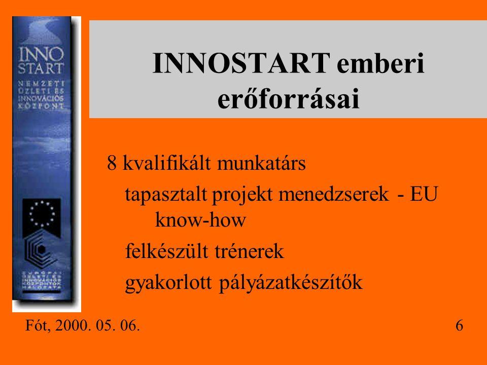 INNOSTART emberi erőforrásai 8 kvalifikált munkatárs tapasztalt projekt menedzserek - EU know-how felkészült trénerek gyakorlott pályázatkészítők Fót, 2000.