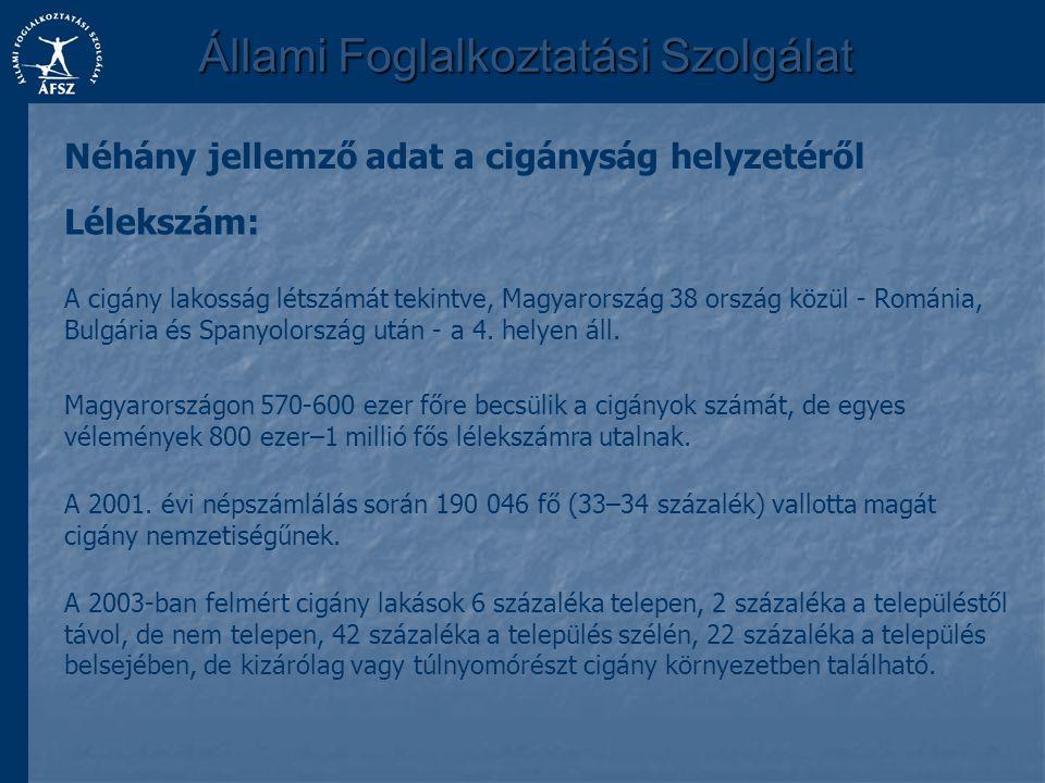 Állami Foglalkoztatási Szolgálat A cigány lakosság létszámát tekintve, Magyarország 38 ország közül - Románia, Bulgária és Spanyolország után - a 4. h