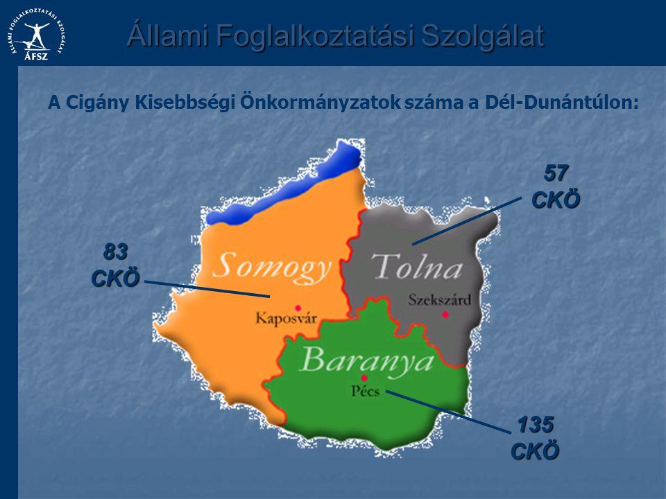 Állami Foglalkoztatási Szolgálat 83 CKÖ 135 CKÖ 57 CKÖ A Cigány Kisebbségi Önkormányzatok száma a Dél-Dunántúlon: