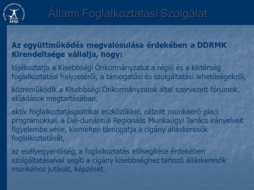 Állami Foglalkoztatási Szolgálat Az együttműködés megvalósulása érdekében a DDRMK Kirendeltsége vállalja, hogy: tájékoztatja a Kisebbségi Önkormányzat