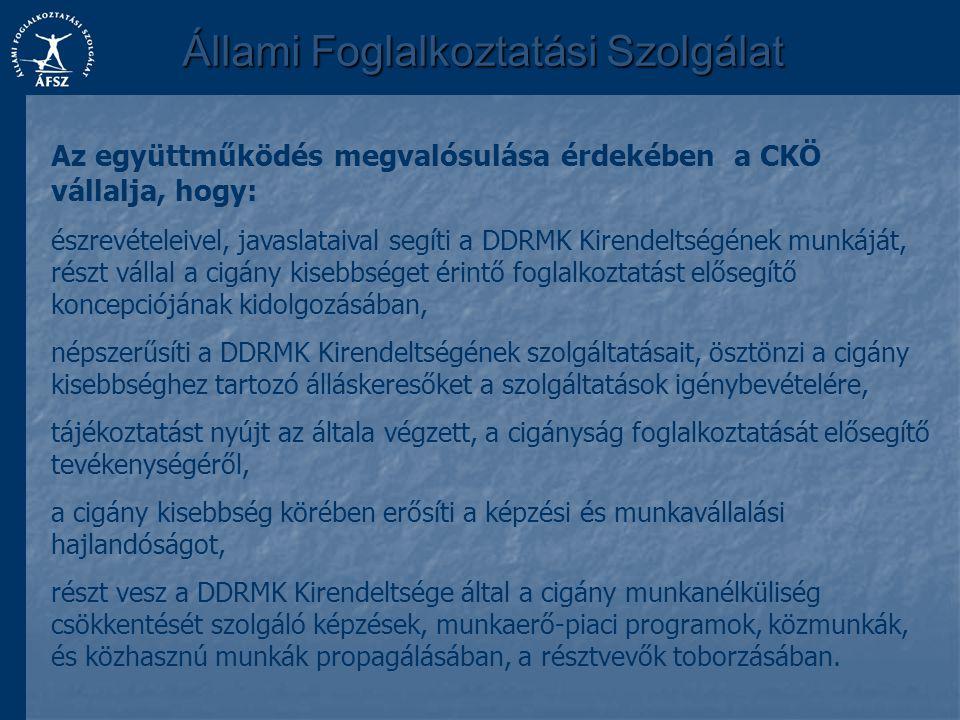 Állami Foglalkoztatási Szolgálat Az együttműködés megvalósulása érdekében a CKÖ vállalja, hogy: észrevételeivel, javaslataival segíti a DDRMK Kirendel