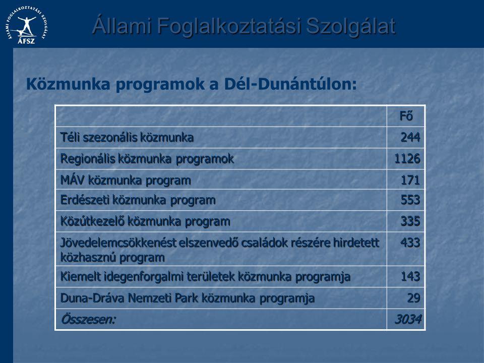 Állami Foglalkoztatási Szolgálat Közmunka programok a Dél-Dunántúlon:Fő Téli szezonális közmunka 244 Regionális közmunka programok 1126 MÁV közmunka p