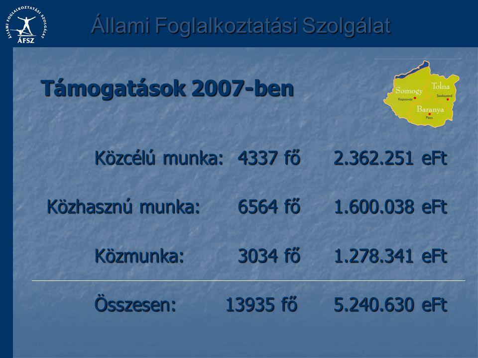 Közcélú munka:4337 fő2.362.251 eFt Közhasznú munka:6564 fő1.600.038 eFt Közmunka:3034 fő1.278.341 eFt Összesen: 13935 fő5.240.630 eFt Támogatások 2007
