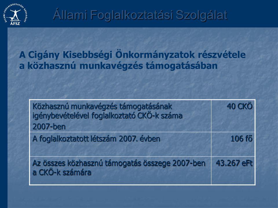 Állami Foglalkoztatási Szolgálat A Cigány Kisebbségi Önkormányzatok részvétele a közhasznú munkavégzés támogatásában Közhasznú munkavégzés támogatásán
