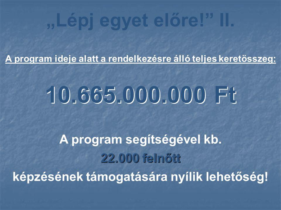 """""""Lépj egyet előre!"""" II. A program ideje alatt a rendelkezésre álló teljes keretösszeg: 10.665.000.000 Ft A program segítségével kb. 22.000 felnőtt kép"""