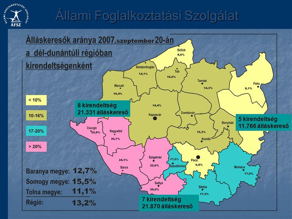 Állami Foglalkoztatási Szolgálat 8 kirendeltség 21.331 álláskereső 7 kirendeltség 21.870 álláskereső 5 kirendeltség 11.766 álláskereső