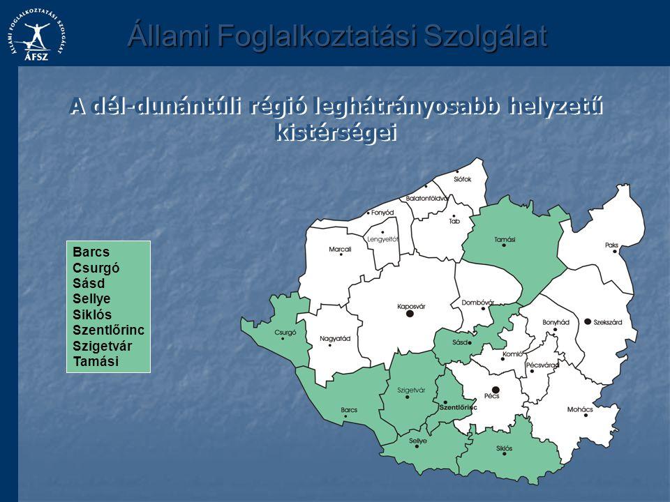 Állami Foglalkoztatási Szolgálat A dél-dunántúli régió leghátrányosabb helyzetű kistérségei Barcs Csurgó Sásd Sellye Siklós Szentlőrinc Szigetvár Tamá