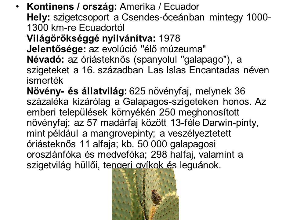 •Kontinens / ország: Amerika / Ecuador Hely: szigetcsoport a Csendes-óceánban mintegy 1000- 1300 km-re Ecuadortól Világörökséggé nyilvánítva: 1978 Jelentősége: az evolúció élő múzeuma Névadó: az óriásteknős (spanyolul galapago ), a szigeteket a 16.