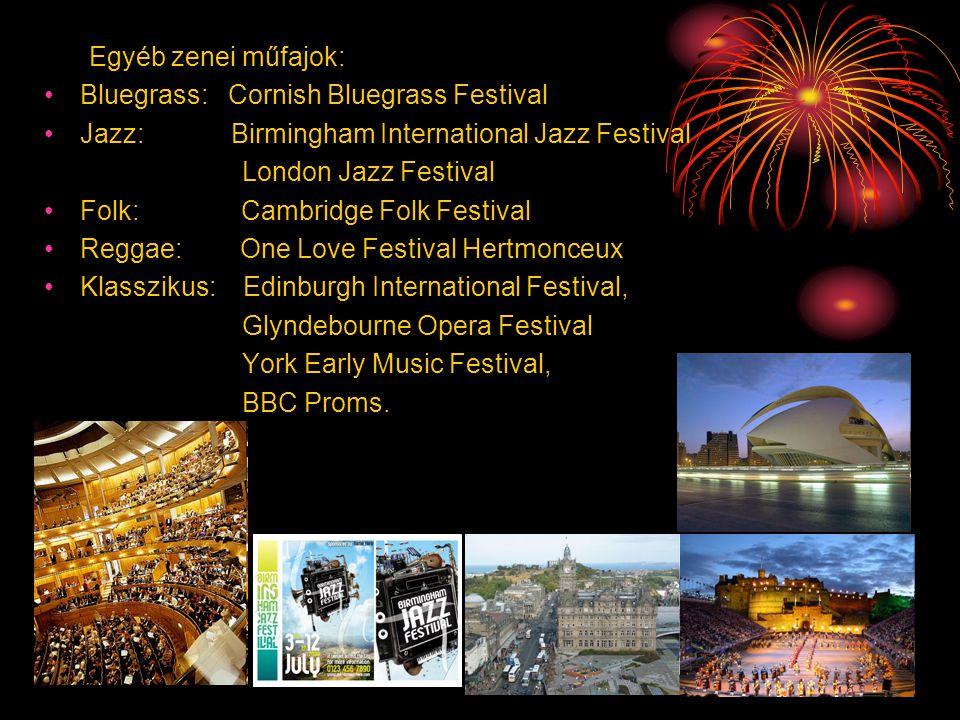 Egyéb zenei műfajok: •Bluegrass: Cornish Bluegrass Festival •Jazz: Birmingham International Jazz Festival London Jazz Festival •Folk: Cambridge Folk F
