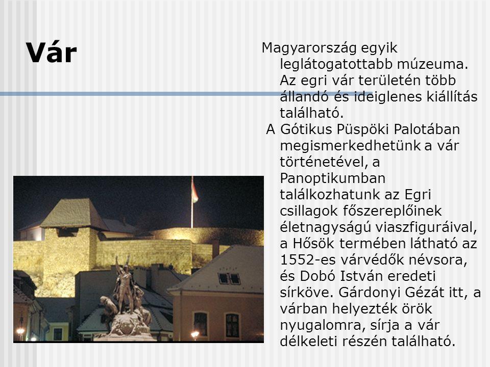 Vár Magyarország egyik leglátogatottabb múzeuma. Az egri vár területén több állandó és ideiglenes kiállítás található. A Gótikus Püspöki Palotában meg