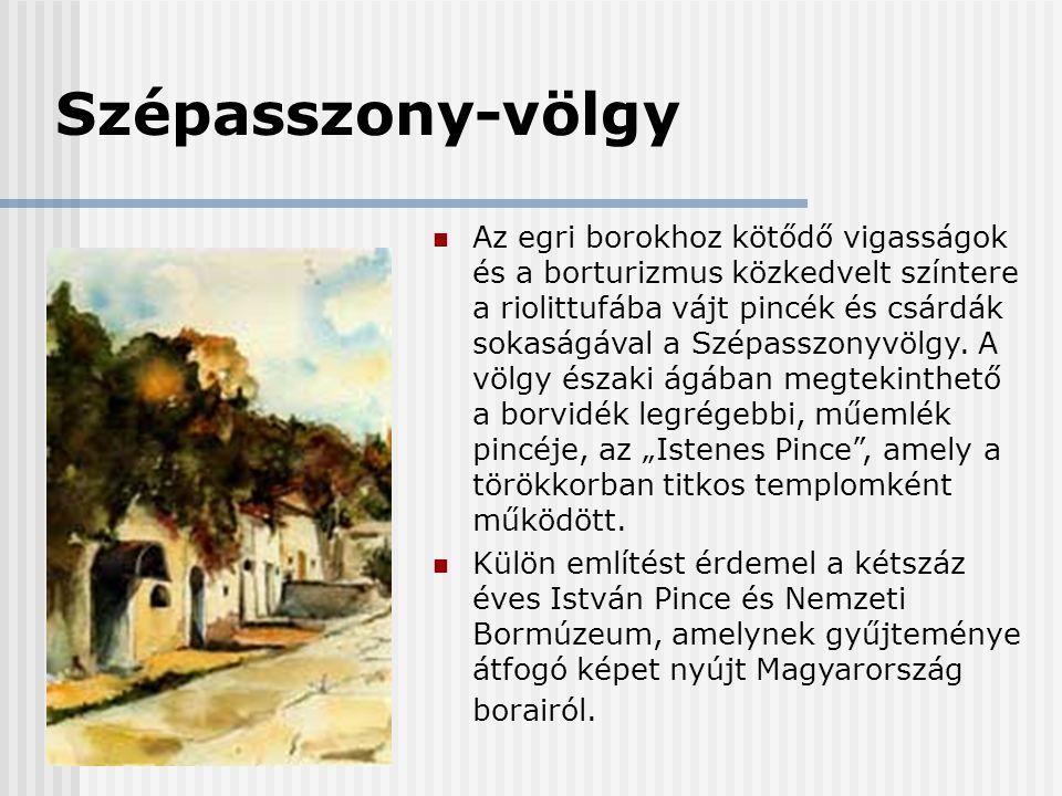 Szépasszony-völgy  Az egri borokhoz kötődő vigasságok és a borturizmus közkedvelt színtere a riolittufába vájt pincék és csárdák sokaságával a Szépas