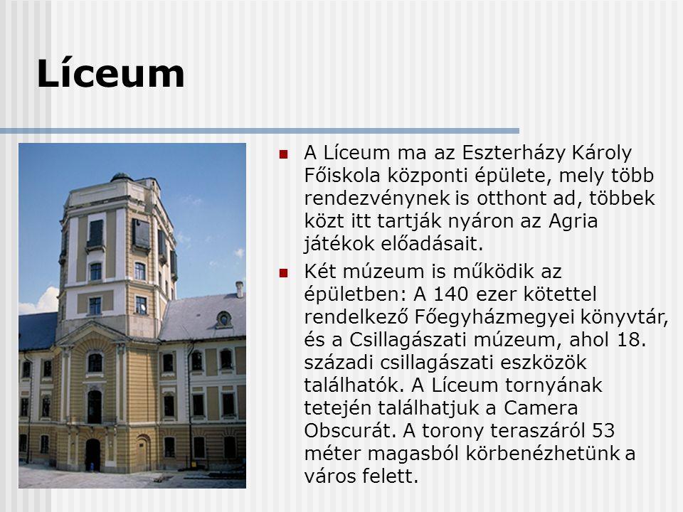 Líceum  A Líceum ma az Eszterházy Károly Főiskola központi épülete, mely több rendezvénynek is otthont ad, többek közt itt tartják nyáron az Agria já