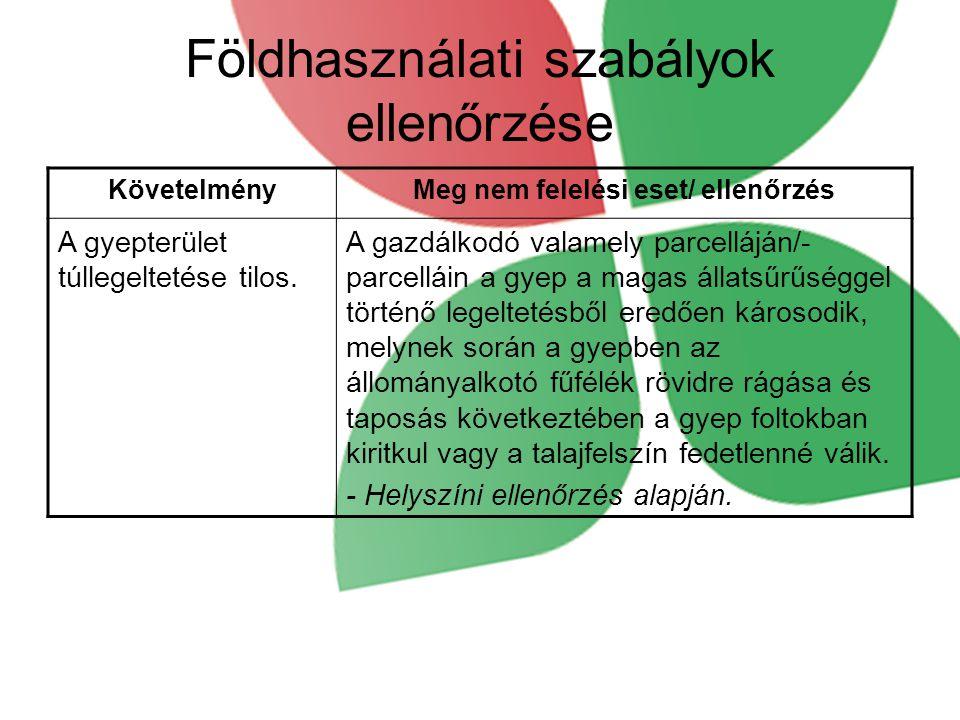 Földhasználati szabályok ellenőrzése KövetelményMeg nem felelési eset/ ellenőrzés A gyepterület túllegeltetése tilos.