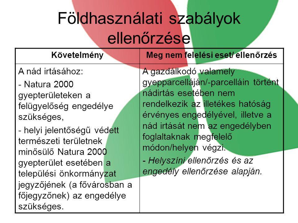 Földhasználati szabályok ellenőrzése KövetelményMeg nem felelési eset/ ellenőrzés A nád irtásához: - Natura 2000 gyepterületeken a felügyelőség engedélye szükséges, - helyi jelentőségű védett természeti területnek minősülő Natura 2000 gyepterület esetében a települési önkormányzat jegyzőjének (a fővárosban a főjegyzőnek) az engedélye szükséges.