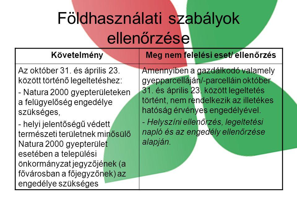 Földhasználati szabályok ellenőrzése KövetelményMeg nem felelési eset/ ellenőrzés Az október 31.