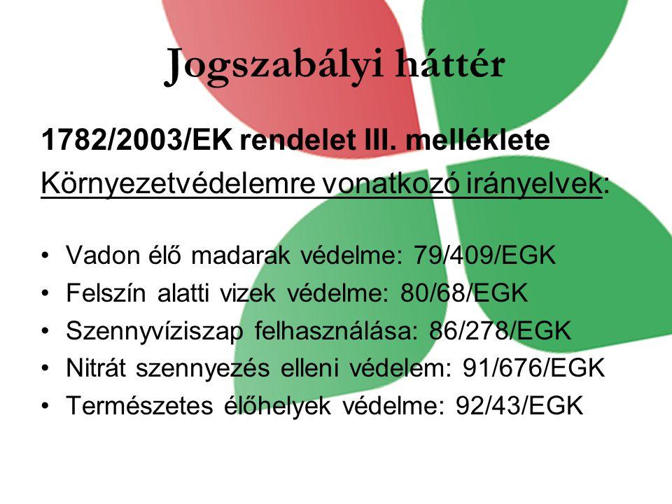 Jogszabályi háttér 1782/2003/EK rendelet III.