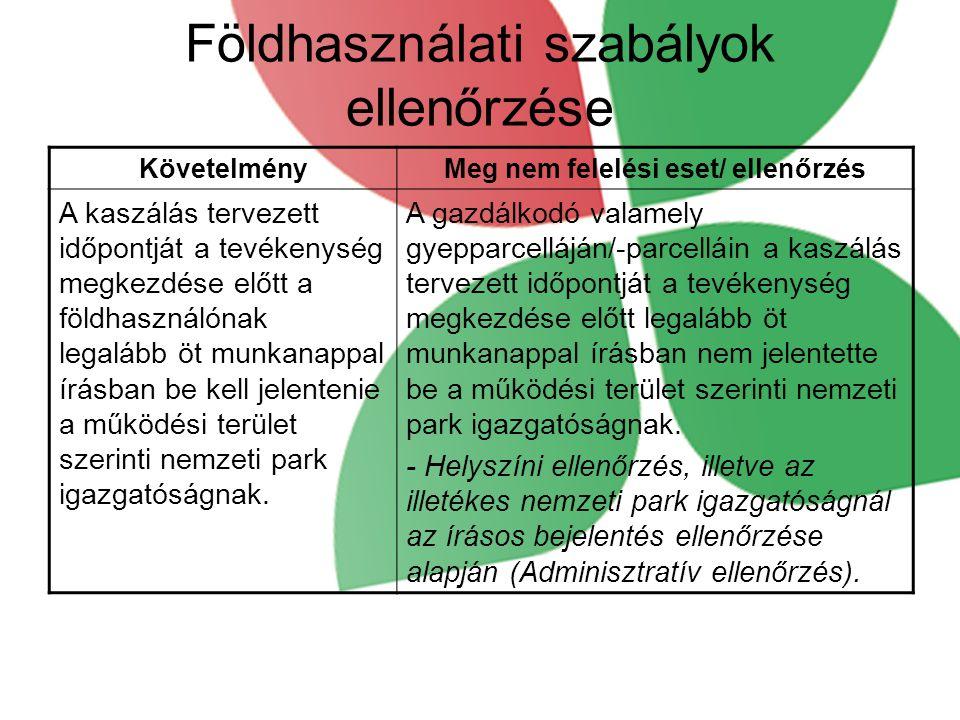 Földhasználati szabályok ellenőrzése KövetelményMeg nem felelési eset/ ellenőrzés A kaszálás tervezett időpontját a tevékenység megkezdése előtt a földhasználónak legalább öt munkanappal írásban be kell jelentenie a működési terület szerinti nemzeti park igazgatóságnak.