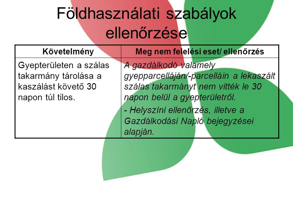 Földhasználati szabályok ellenőrzése KövetelményMeg nem felelési eset/ ellenőrzés Gyepterületen a szálas takarmány tárolása a kaszálást követő 30 napon túl tilos.