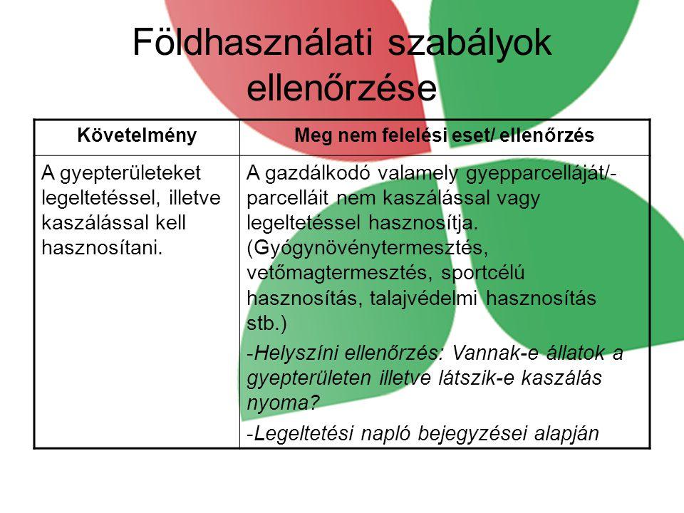 Földhasználati szabályok ellenőrzése KövetelményMeg nem felelési eset/ ellenőrzés A gyepterületeket legeltetéssel, illetve kaszálással kell hasznosítani.