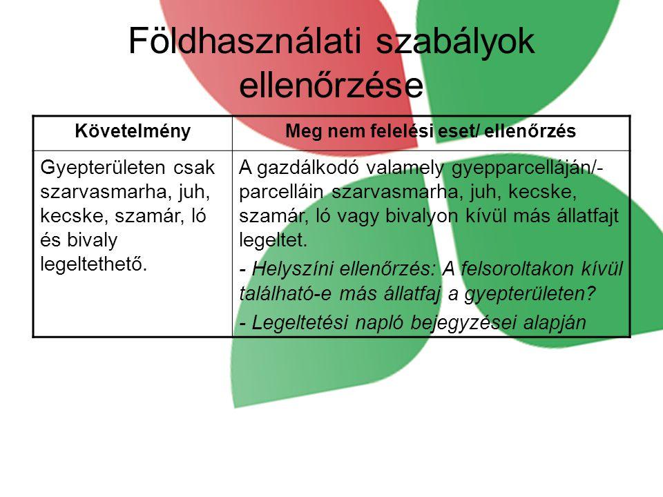 Földhasználati szabályok ellenőrzése KövetelményMeg nem felelési eset/ ellenőrzés Gyepterületen csak szarvasmarha, juh, kecske, szamár, ló és bivaly legeltethető.