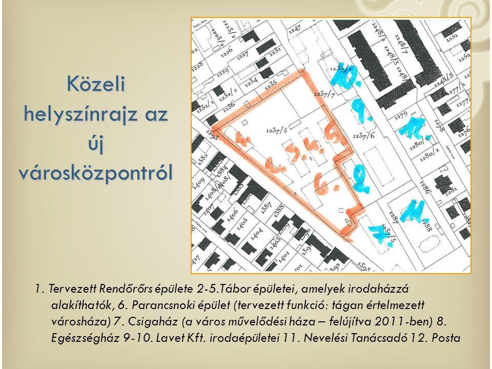 Közeli helyszínrajz az új városközpontról 1. Tervezett Rendőrőrs épülete 2-5.Tábor épületei, amelyek irodaházzá alakíthatók, 6. Parancsnoki épület (te