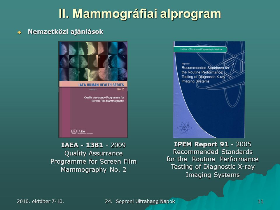 2010. október 7-10. 24. Soproni Ultrahang Napok 11 IAEA - 1381 - 2009 Quality Assurrance Programme for Screen Film Mammography No. 2  Nemzetközi aján