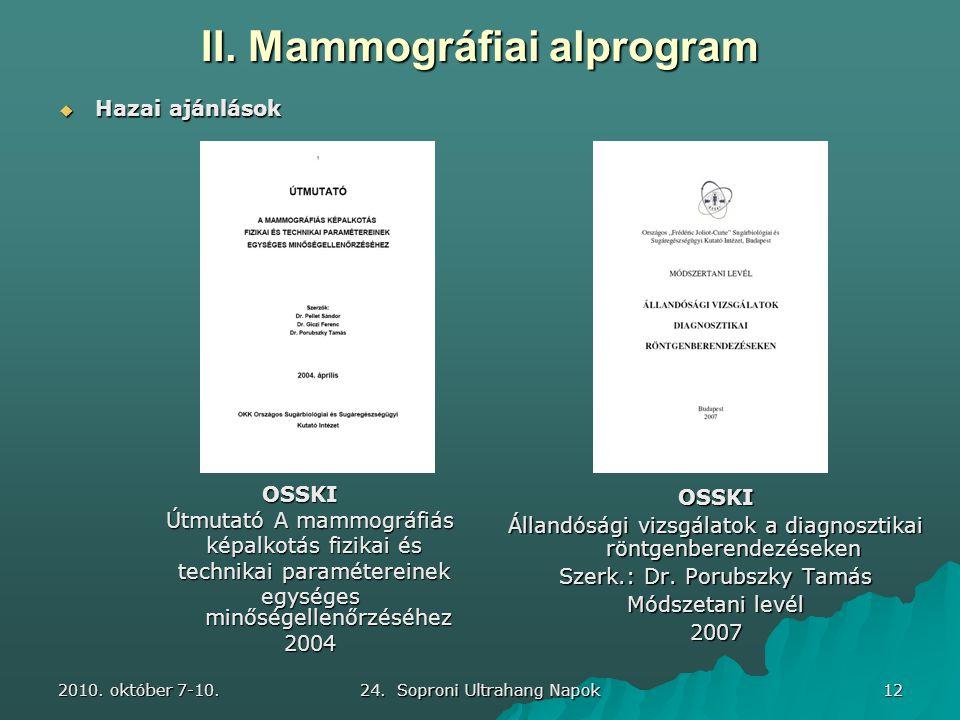2010. október 7-10. 24. Soproni Ultrahang Napok 12 II. Mammográfiai alprogram OSSKI Állandósági vizsgálatok a diagnosztikai röntgenberendezéseken Szer