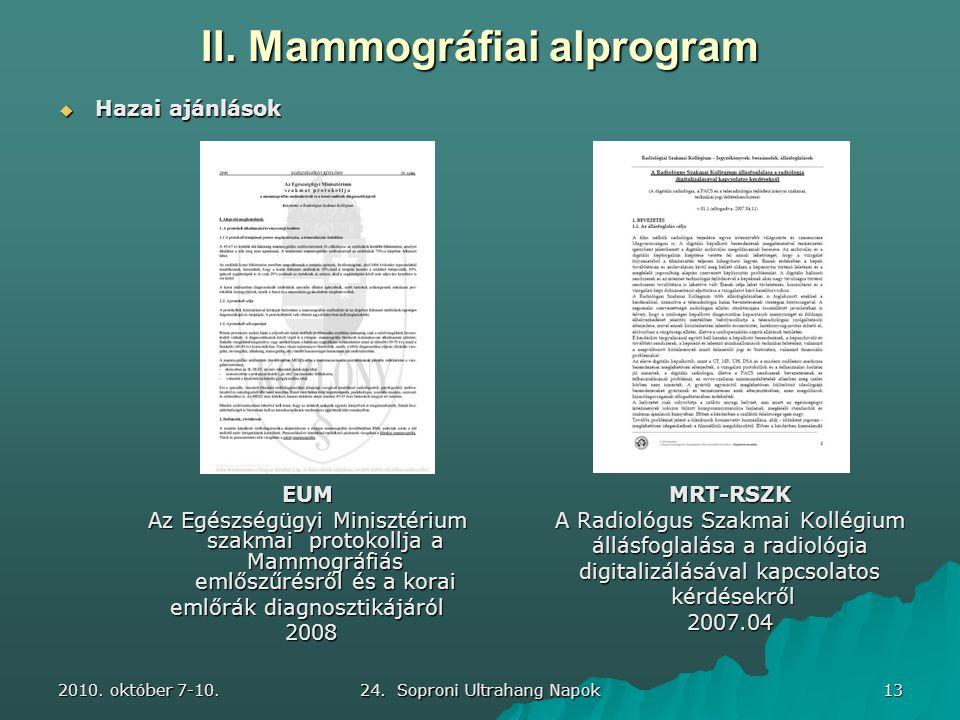 2010. október 7-10. 24. Soproni Ultrahang Napok 13 II. Mammográfiai alprogram MRT-RSZK A Radiológus Szakmai Kollégium állásfoglalása a radiológia digi