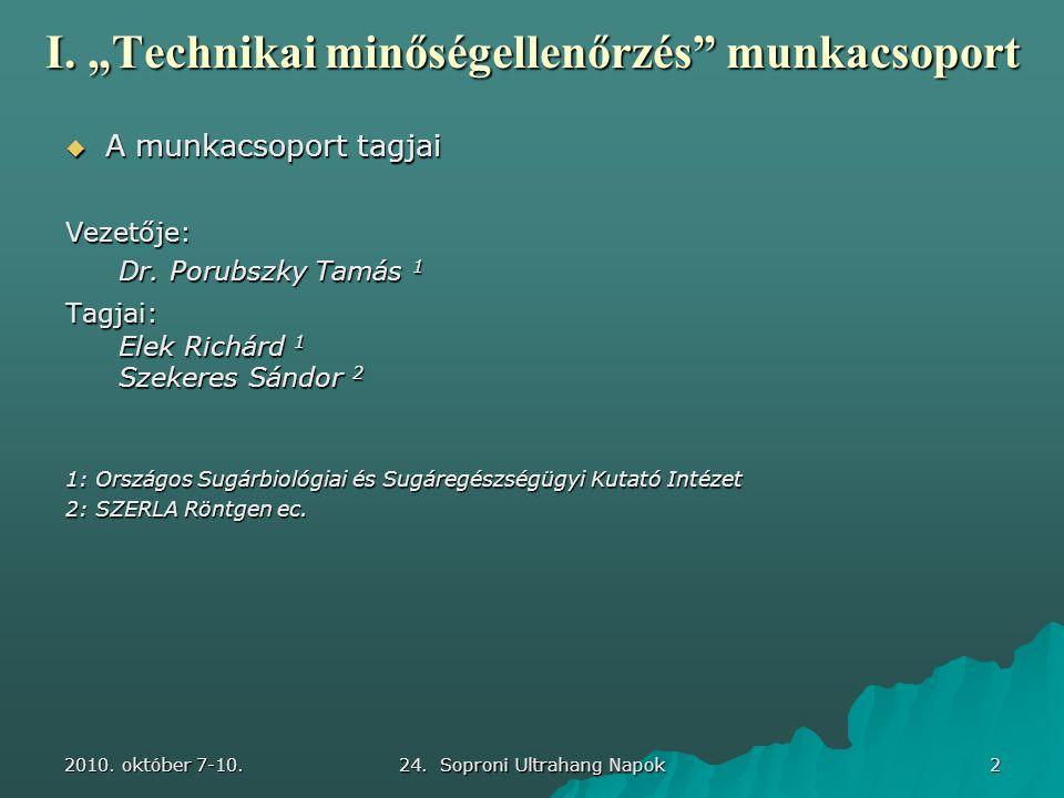 """2010. október 7-10. 24. Soproni Ultrahang Napok 2 I. """"Technikai minőségellenőrzés"""" munkacsoport  A munkacsoport tagjai Vezetője: Dr. Porubszky Tamás"""