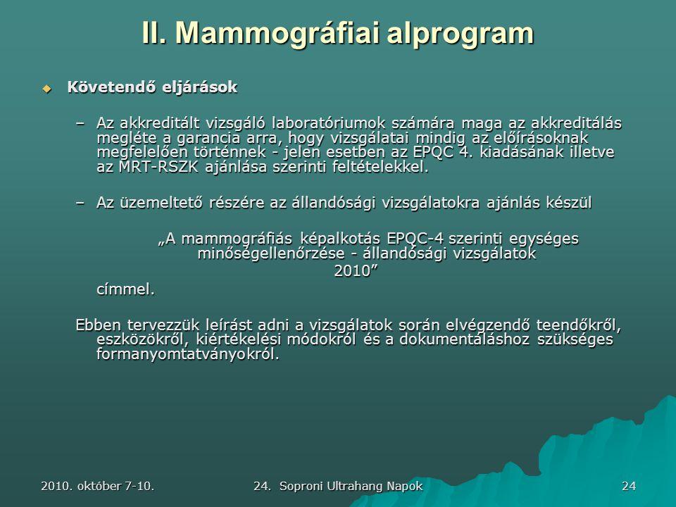 2010. október 7-10. 24. Soproni Ultrahang Napok 24 II. Mammográfiai alprogram  Követendő eljárások –Az akkreditált vizsgáló laboratóriumok számára ma