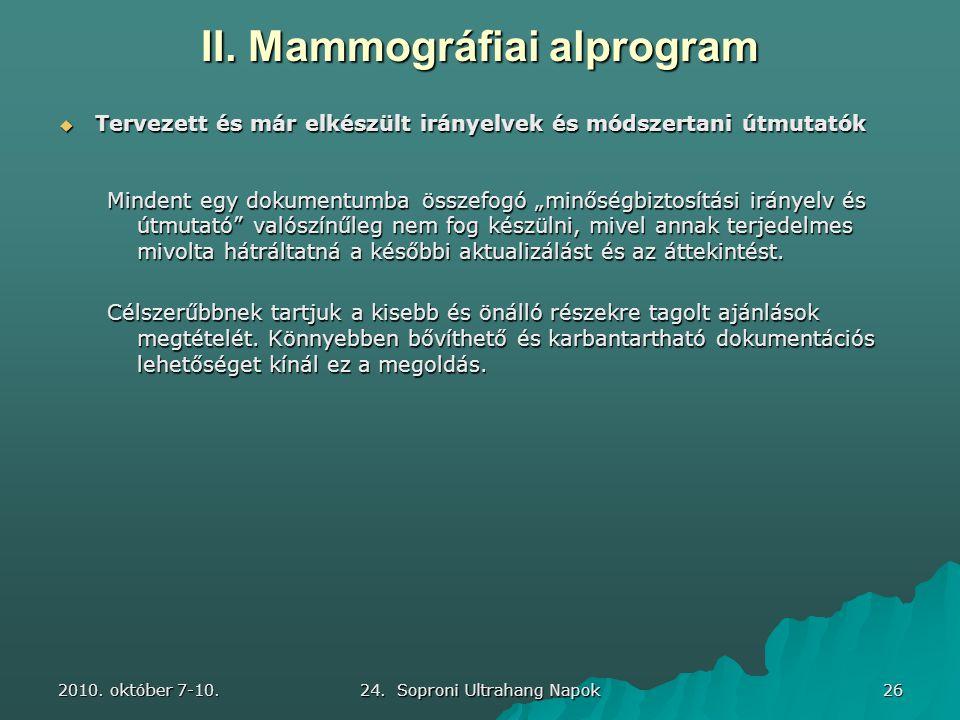 2010. október 7-10. 24. Soproni Ultrahang Napok 26 II. Mammográfiai alprogram  Tervezett és már elkészült irányelvek és módszertani útmutatók Mindent