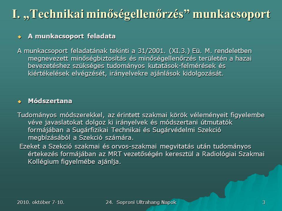"""2010. október 7-10. 24. Soproni Ultrahang Napok 3 I. """"Technikai minőségellenőrzés"""" munkacsoport  A munkacsoport feladata A munkacsoport feladatának t"""