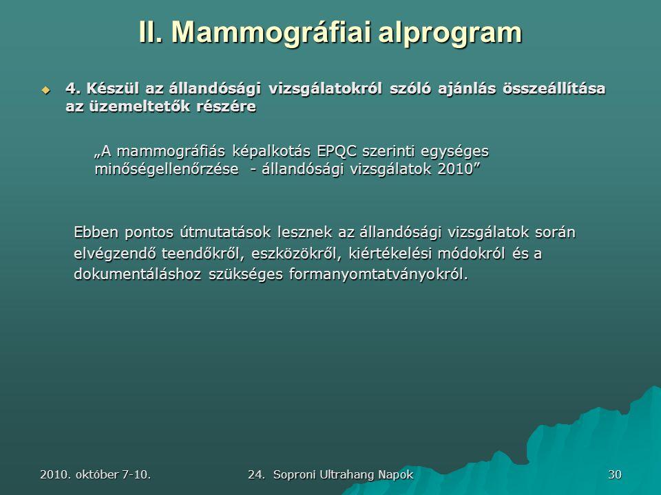 2010. október 7-10. 24. Soproni Ultrahang Napok 30 II. Mammográfiai alprogram  4. Készül az állandósági vizsgálatokról szóló ajánlás összeállítása az