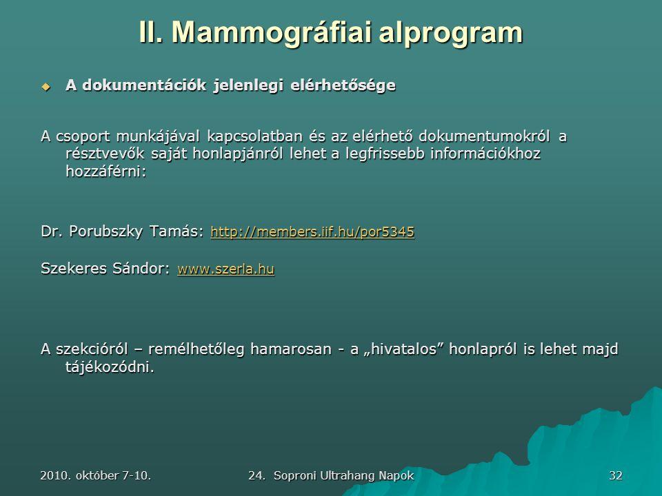 2010. október 7-10. 24. Soproni Ultrahang Napok 32 II. Mammográfiai alprogram  A dokumentációk jelenlegi elérhetősége A csoport munkájával kapcsolatb
