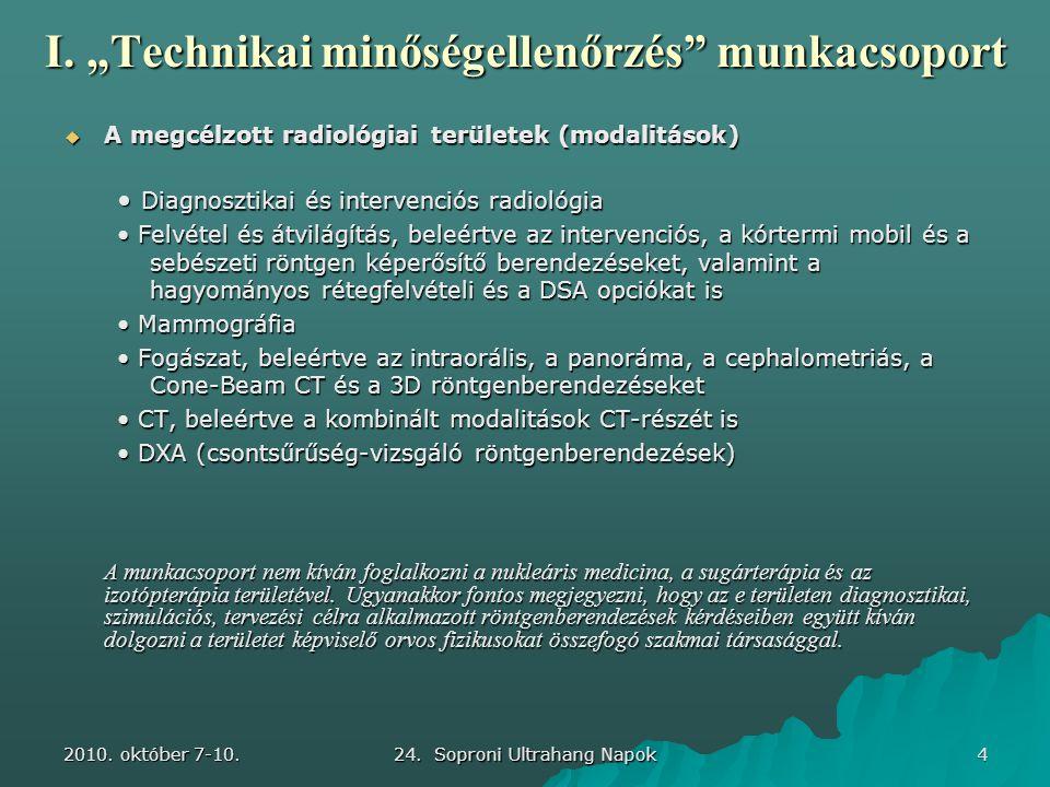 """2010. október 7-10. 24. Soproni Ultrahang Napok 4 I. """"Technikai minőségellenőrzés"""" munkacsoport  A megcélzott radiológiai területek (modalitások) • D"""