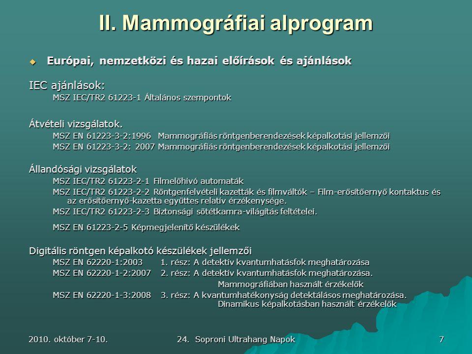 2010. október 7-10. 24. Soproni Ultrahang Napok 7 II. Mammográfiai alprogram  Európai, nemzetközi és hazai előírások és ajánlások IEC ajánlások: MSZ