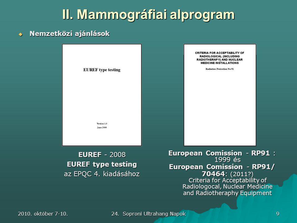 2010. október 7-10. 24. Soproni Ultrahang Napok 9 European Comission - RP91 : 1999 és European Comission - RP91/ 70464: (2011?) Criteria for Acceptabi
