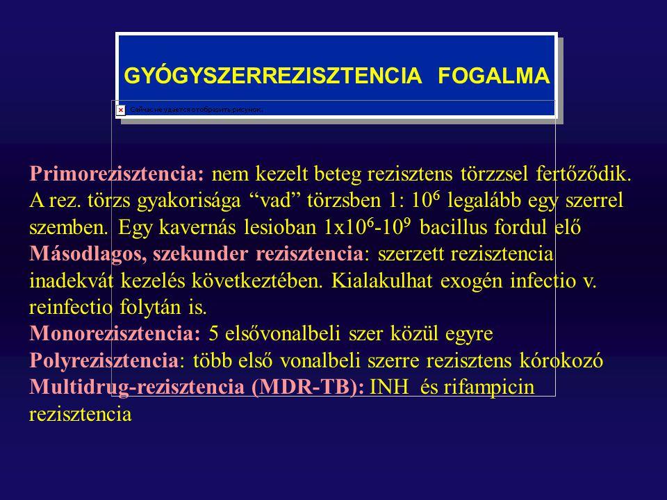 """GYÓGYSZERREZISZTENCIA FOGALMA Primorezisztencia: nem kezelt beteg rezisztens törzzsel fertőződik. A rez. törzs gyakorisága """"vad"""" törzsben 1: 10 6 lega"""