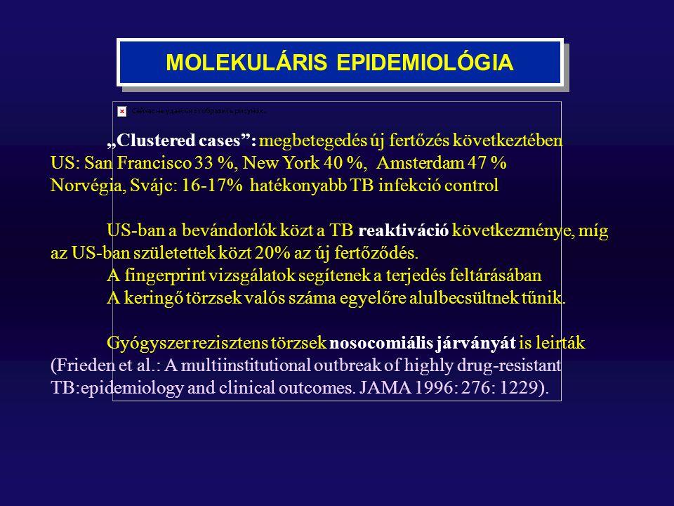 """MOLEKULÁRIS EPIDEMIOLÓGIA """"Clustered cases"""": megbetegedés új fertőzés következtében US: San Francisco 33 %, New York 40 %, Amsterdam 47 % Norvégia, Sv"""