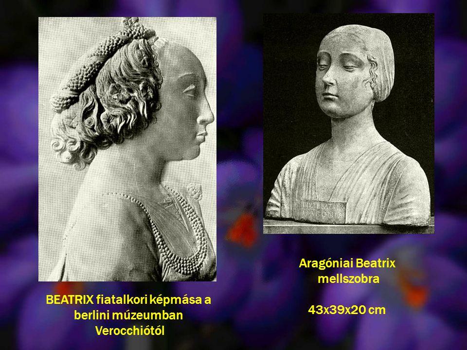 Aragóniai Beatrix mellszobra 43x39x20 cm BEATRIX fiatalkori képmása a berlini múzeumban Verocchiótól