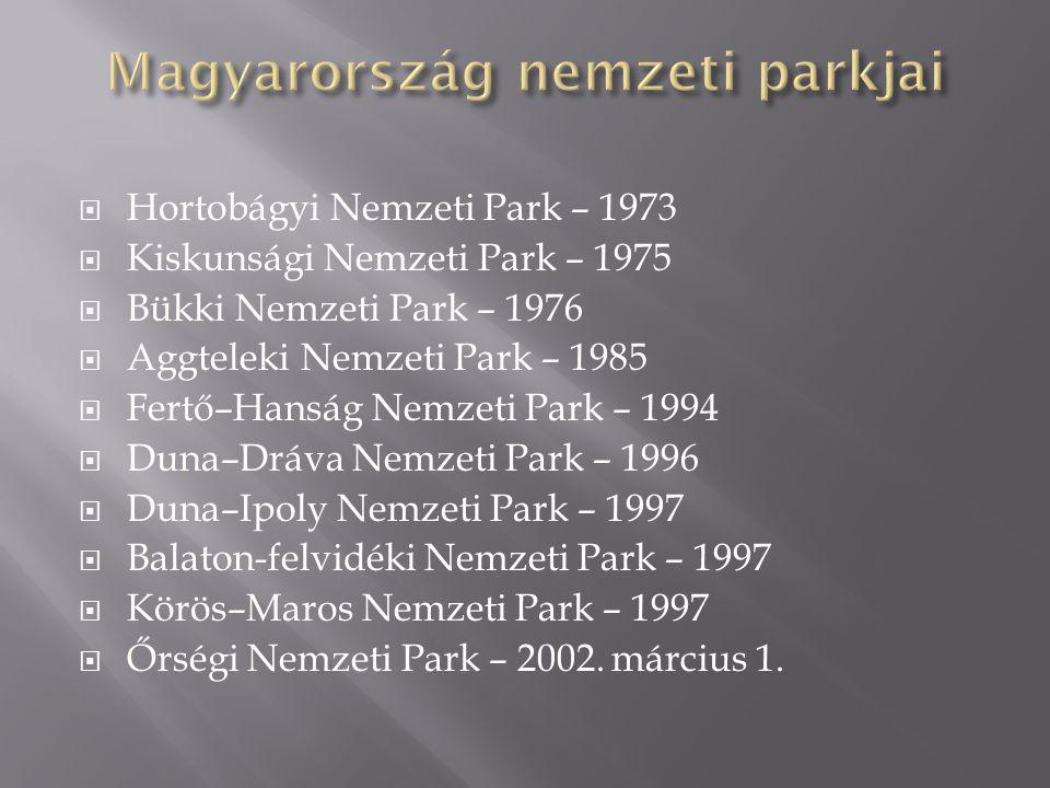  Hortobágyi Nemzeti Park – 1973  Kiskunsági Nemzeti Park – 1975  Bükki Nemzeti Park – 1976  Aggteleki Nemzeti Park – 1985  Fertő–Hanság Nemzeti P