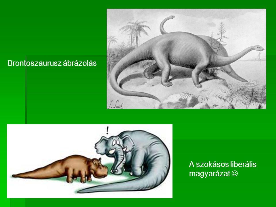 A szokásos liberális magyarázat  Brontoszaurusz ábrázolás