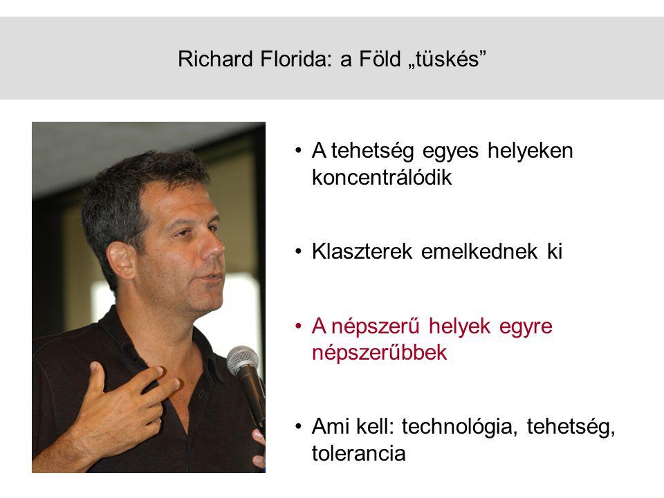 """Richard Florida: a Föld """"tüskés •A tehetség egyes helyeken koncentrálódik •Klaszterek emelkednek ki •A népszerű helyek egyre népszerűbbek •Ami kell: technológia, tehetség, tolerancia"""