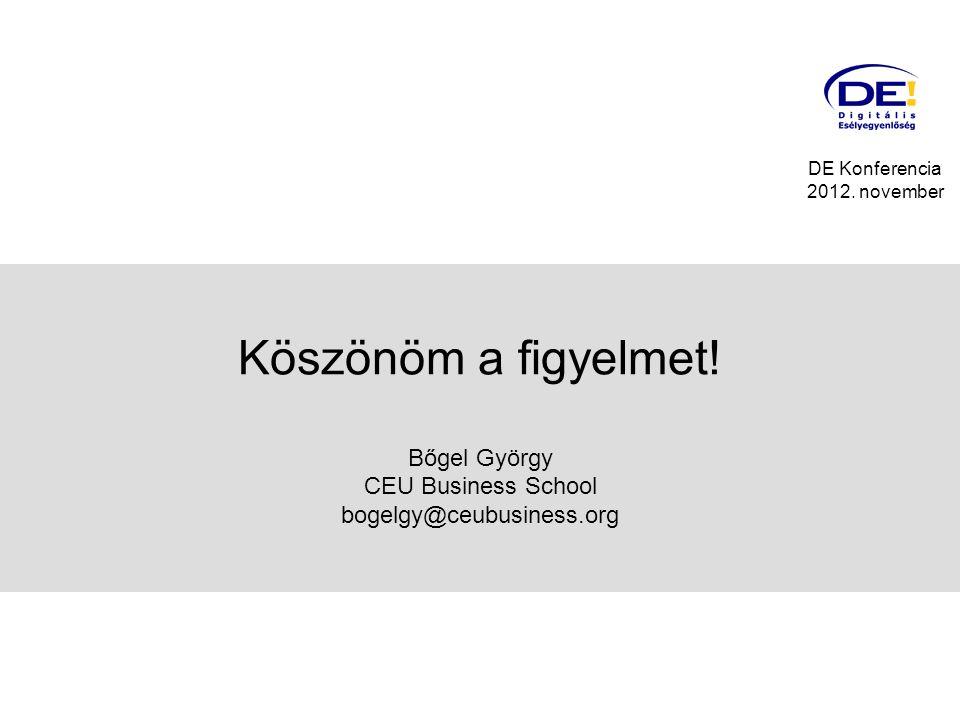 Köszönöm a figyelmet. Bőgel György CEU Business School bogelgy@ceubusiness.org DE Konferencia 2012.