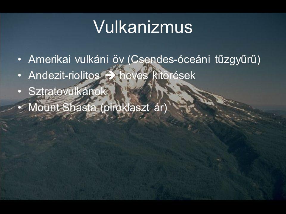 Vulkanizmus •Amerikai vulkáni öv (Csendes-óceáni tűzgyűrű) •Andezit-riolitos  heves kitörések •Sztratovulkánok •Mount Shasta (piroklaszt ár)