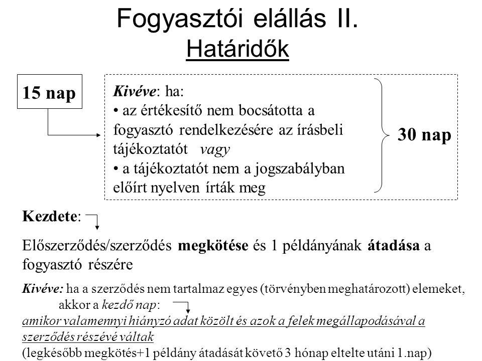 Fogyasztói elállás II. Határidők 15 nap Kezdete: Előszerződés/szerződés megkötése és 1 példányának átadása a fogyasztó részére Kivéve: ha: • az értéke