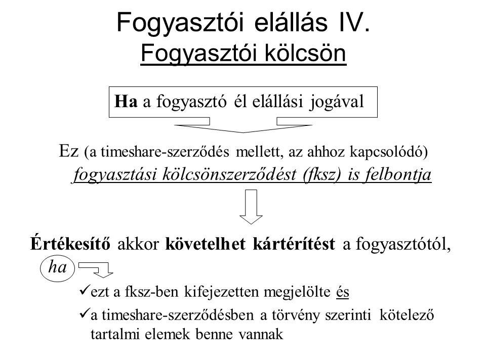Fogyasztói elállás IV. Fogyasztói kölcsön Ez (a timeshare-szerződés mellett, az ahhoz kapcsolódó) fogyasztási kölcsönszerződést (fksz) is felbontja Ér