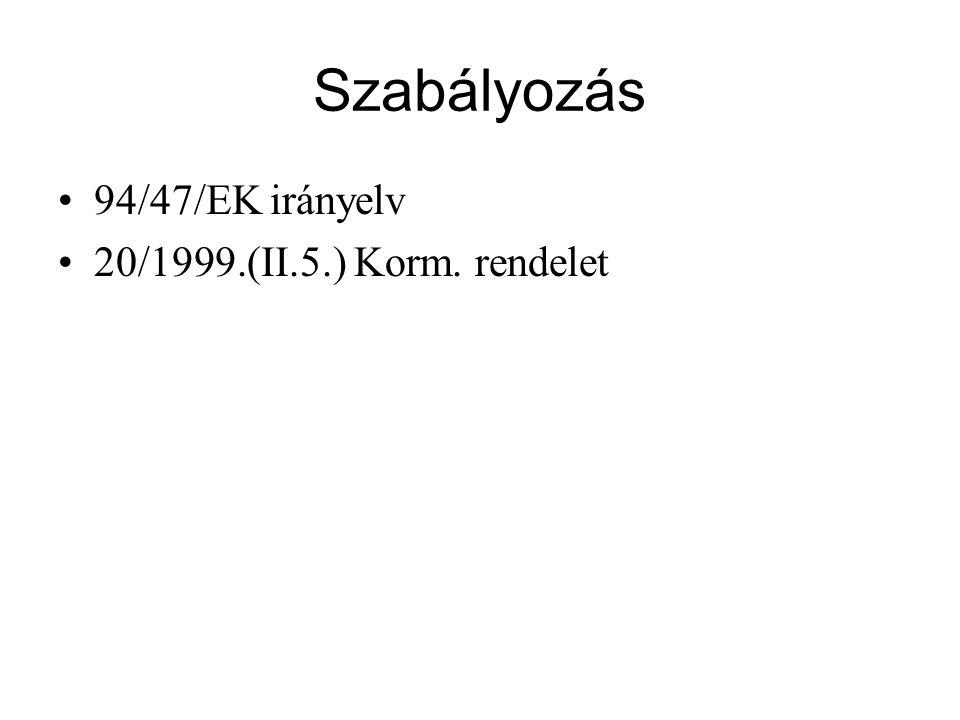 Szabályozás •94/47/EK irányelv •20/1999.(II.5.) Korm. rendelet